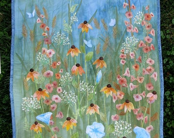 Hand painted fabric art quilt, wallhanging - wildflowers