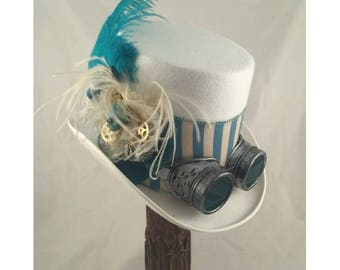STEAMPUNK TOP HATS, White Top Hat, Steampunk Shop, Steampunk Accessories, White, Turquoise, Ostrich