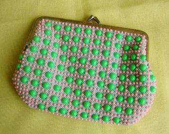 Vintage caviar candy dot purse clutch handbag plastic beaded beads green pink Beadette mint green vintage clutch purse plastic beaded purse