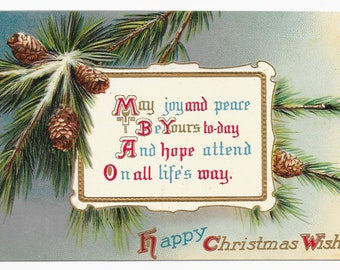 Snowy Pine Branches Christmas Postcard, c. 1910