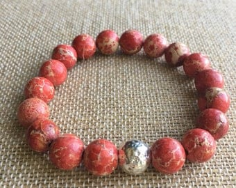 10mm Red Sea Sediment Jasper stretch bracelet with sterling silver tube bead