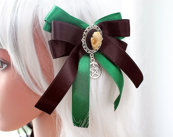 Hair clip brooch - Gothic green cat skull