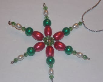 Red Barrel Glass Pearl Green Glass Pearl White Pearl Green Crystal Christmas Snowflake Star Ornament