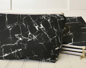 Black Marble Makeup Bag | Black White Marble | Personalized Marble Bag | Marble Travel Bag | Marble Bikini Bag | Bridemaid Gift Set