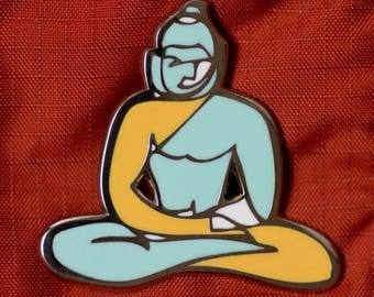 Buddha enamel pin, buddha lapel pin, hard enamel brooch, yellow and blue enamel pin, fine art buddha, fine art buddha pin, collectible Oliva