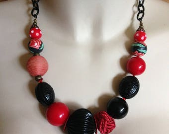 Necklace - large and chunky mixed bead necklace red and black