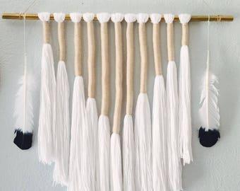 Yarn wrapped tassel piece in neutrals