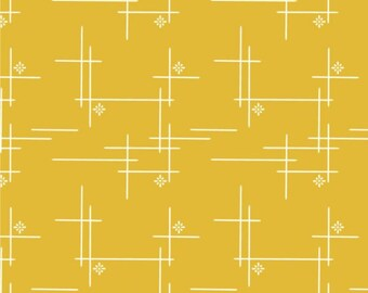 Merry Hatch in Marigold, Woven, Merryweather, Birch Organic Fabrics, modern blender, fabric by the yard, yellow fabric