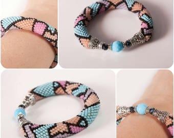 Beadweave bracelets, brown jewelry, multicolour braslet, varicolored jewelry, statement bracelet, bracelet, beaded bracelet, crochet