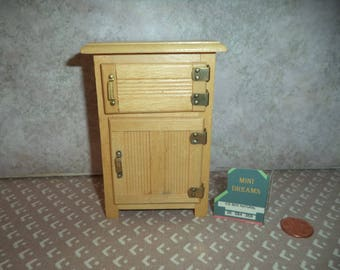 1:12 scale Dollhouse Vintage Ice Box Natural Oak