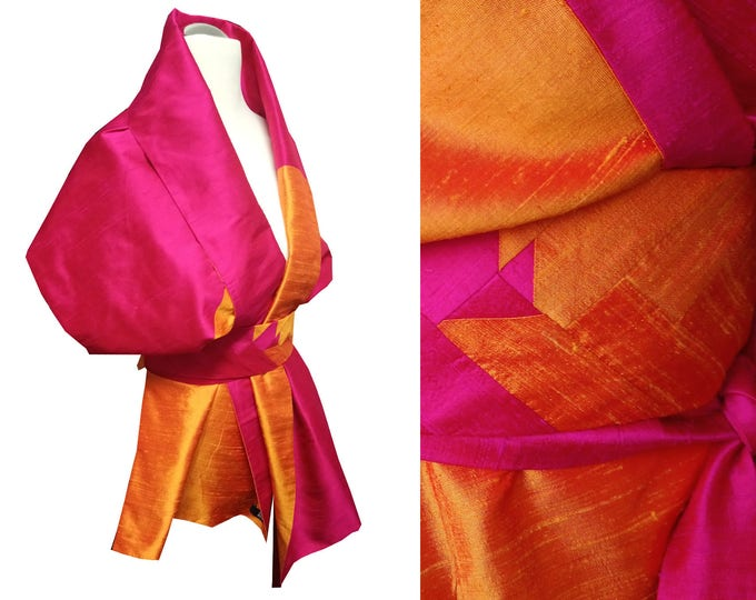 Silk stole with an Obibelt in Asian style  Block pattern -INDIAN MOOD