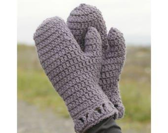 Women's Winter Mittens Crochet Mittens Purple Mittens Christmas Gift Wool Mittens Handmade Gift Untreated Wool Natural Fiber Mittens Boho