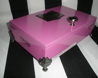 Torano Purple Cigar Box Valet, Watch Box, Stash Box, Jewelry Box, Groomsman Gift, Guy Gift, Authentic, Tampa