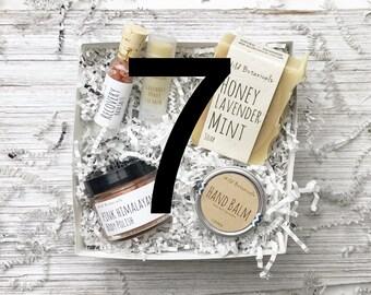 7 Spa Gift Sets, Body Scrub, Bath Salt, Soap, Lip Balm, Hand Balm, Spa Party, Detox, Relax