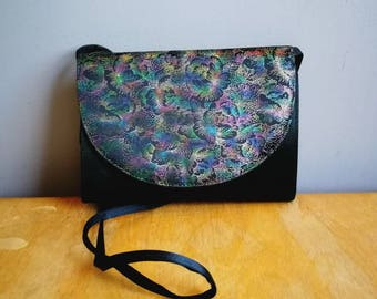 80s disco shoulder bag / black shimmer purse / retro shouder bag / 80s electro purse / vintage evening bag / boho purses