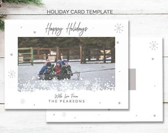 Modern Happy Holidays Card Template Christmas, Holiday Marketing Template, Printable Christmas Cards, Front and Back Christmas Card, mc185