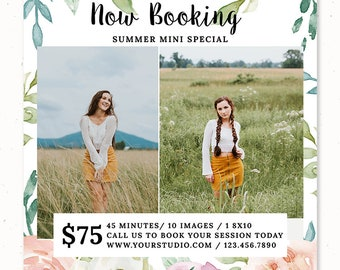 Summer Mini Session Template Design, Spring Photography Marketing Board, Photoshop Template for Photographers Email Template, m211