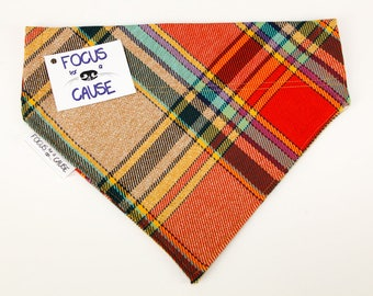 AutumnPlaid Dog Bandana, Fall or Winter Slide Over the Collar Dog Bandana, Collar Accessories, Focus for a Cause