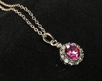 Necklace pink cabochon pendant
