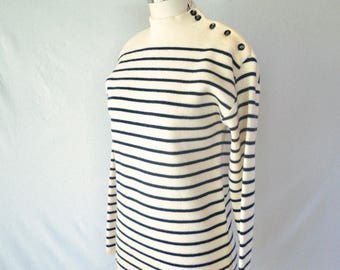 Vintage Striped 100% Wool Sweater Sz S Buttons FREE SHIPPING