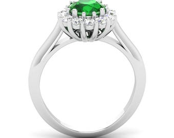 Halo Engagement Ring | Natural AAA Emerald Engagement Ring With Diamond 14K White Gold | Certified Emerald Ring | Halo Ring