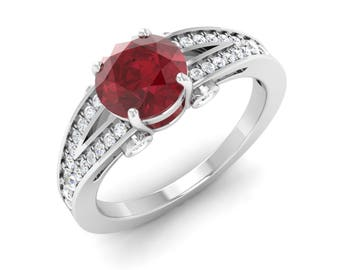 Ruby Engagement Ring With Diamond 14K Gold Ring | Ruby Anniversary Ring | 1.52 Cts Ruby Solid White Gold Ring | Certified AAA Ruby Ring |