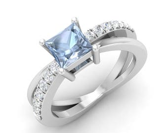 Aquamarine Engagement Ring, 14K White Gold, Princess Cut, Anniversary Ring, Wedding Ring, Natural Aquamarine Ring, Aquamarine & Diamond Ring
