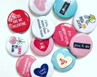 MYSTERY VALENTINE FLAIR button grab bag pin badge crafting planner scrapbooking valentine's day set of 12