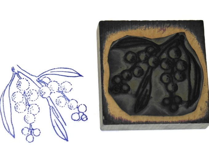 Mimosa Rubber Stamp Wood Print Block. Kids Art & Craft Printing Gift. French Flower. Vintage Nursery Decor.