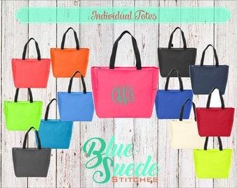 Bridesmaid Totes with Zipper - bachelorette party gifts | bridal party tote bags | Bridesmaid gifts | Zip Tote