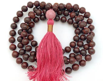 Rosewood & Rhodonite Mala, 108 beads, 7mm, silk tassel