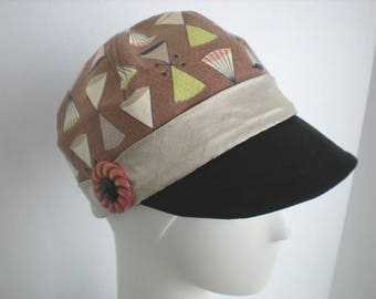 One of a kind vintage fabric Newsboy cap