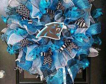 Large Mesh Ribbon Wreath Carolina Panthers Football Wreath Blue Black Silver White