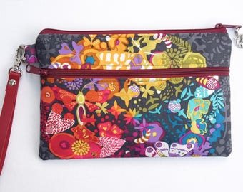 Ex Libris Double Zip Clutch Bag