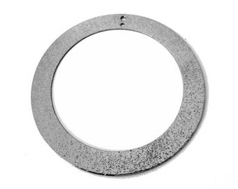 1 x 45mm GUNMETAL brushed silver hollow round pendant