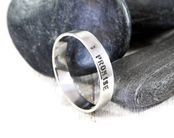 I Promise Engraved Silver Ring. Personalized Men's Wide Sterling Silver Ring. Hand Stamped Men's Band. Custom Mens Engraved Wedding Band.