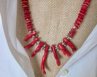 Red Coral Necklace & Earring Set