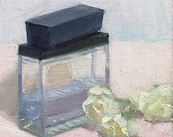 Scent of a man Original oil painting by Bhavani Krishnan fragrance bottle white flowers still life painting Small Daily Paint wall decor 6x6