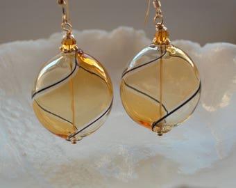 Amber Glass Earrings, Venetian Murano Glass