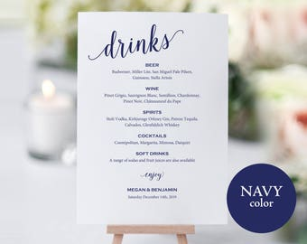 Navy Bar Menu Sign, Wedding Bar Sign, Navy Drinks Sign, Wedding Bar Menu Printable, Drink Menu, Wedding Sign, PDF Instant Download, MM01-4