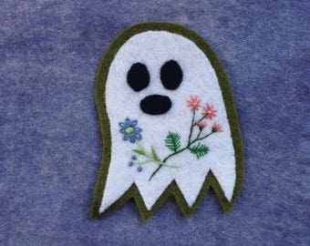 Ghost Flowers Hand-Embroidered Felt Patch