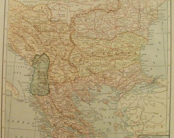 Balkan Map,Balkan States Map,Turkey Roumania Rumania Romania Bulgaria Serbia Montenegro Albania Greece,Place on the World Map,1925 8x10 VS19
