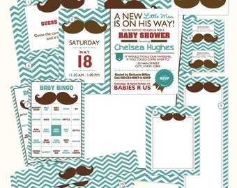 Mustache Baby Shower Printables