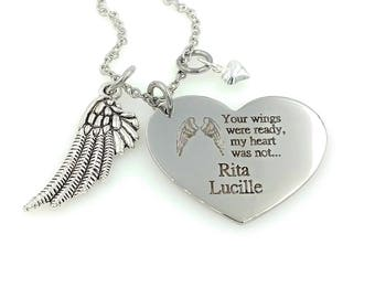 Remembrance Necklace - Engraved Heart in Heaven Necklace - Angel Wings - Memorial Jewelry
