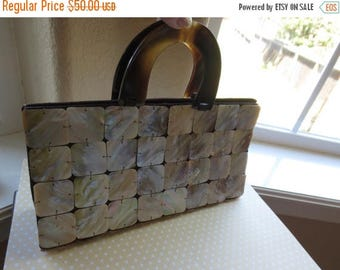 ON SALE Pearl Abalone Shell handbag with lucite handles
