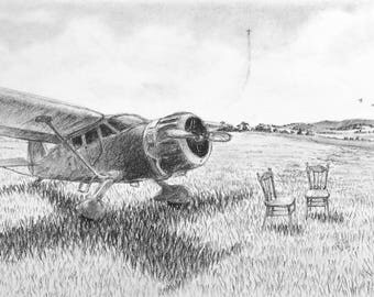 Original aircraft drawing, charcoal drawing, plane illustration, aeroplane sketch, airplane drawing, landscape drawing, black white artwork