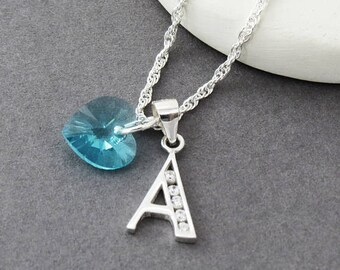 Birthstone Initial Necklace, Aquamarine Birthstone Necklace, Personalised Silver Initial Necklace, Swarovski Crystal Birthstone Charm