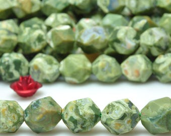 47 pcs of  Natural Green Birds Eye Rhyolit Faceted Matte Star Nugget  beads in 8mm