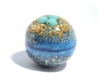 Mini Turquoise Orgone Sphere - Meditation Ball - Energy Healing Spiritual Gift - Feng Shui Decor