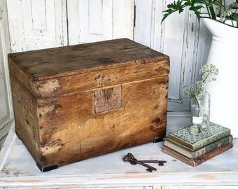 A gorgeous antique pine wooden chest